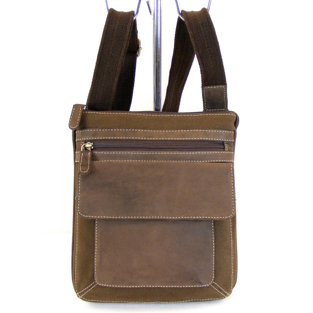 hgl damen tasche crossovertasche canvas mit leder braun. Black Bedroom Furniture Sets. Home Design Ideas