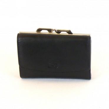 HGL Damen Geldbörse Bügelbörse Leder schwarz 10186 Kreditkartenfach Druckknopf – Bild 1