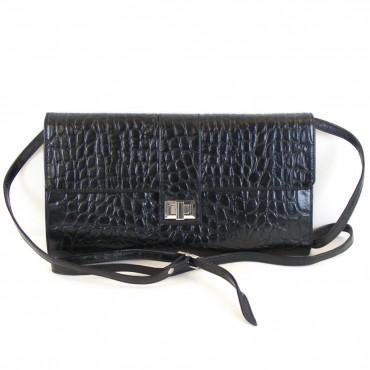 Pavini Damen Tasche Abendtasche Croco Leder schwarz 12433 Drehverschluss RV-Fach – Bild 1